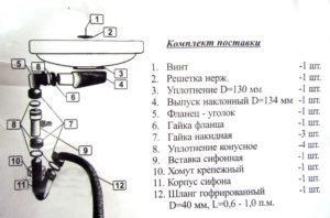 Конструкция сифона плоского типа